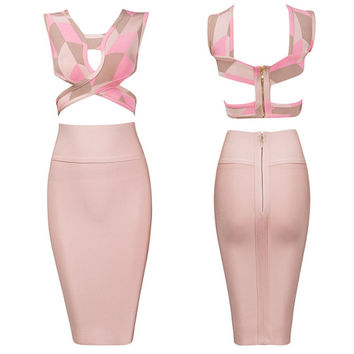 Women's Fashion Sexy Sleeveless Hollow Out Tops Bandages Dress Bottom & Top [4919744516]