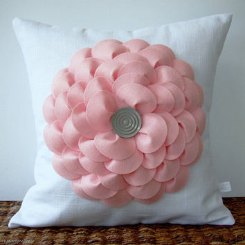 Large Pastel Pink Flower Pillow in White Linen with Gray Button Center by JillianReneDecor Nursery Decor Gift for Her Floral Spring Easter