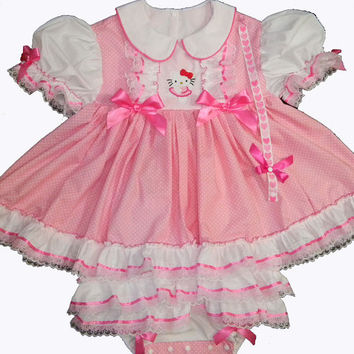 Adult Baby Sissy Littles ~ Ballerina Hello Kitty ~ Pink ~ BUNDLE ME Up Baby Onesuit Dress ~ Binkies n Bows