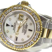 ROLEX SUBMARINER 40MM 16613 18K YELLOW GOLD/STEEL DIAMOND BEZEL & DIAL