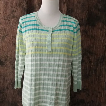 Croft & Barrow Sweater Scoop Neck 3/4 Sleeve Lightweight Striped Size XL