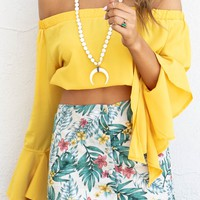 Cozumel Tan & Green Tropical Print Skirt