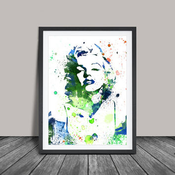 Marilyn Monroe Watercolour Painting, Marilyn Monroe Art, Wall Art Poster, Marilyn Monroe Decor, Art Print, For Gift,Celebrity Portraits (12)