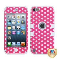 MyBat Dots Pink/White TUFF Hybrid Protector Cover for iPod touch 5