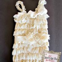Posh  Lace Ivory  Pettirompers and by TheBabyBellaBoutique on Etsy