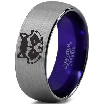 Rocket Raccoon Inspired Purple Silver Dome Cut Tungsten Ring
