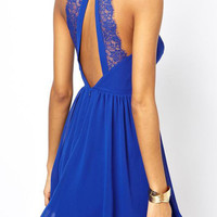 Blue Halter Back Cutout Mesh Lace Accent Mini A-Line Pleated Dress