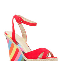 Red Faux Suede Multi Stripe Ankle Strap Wedges