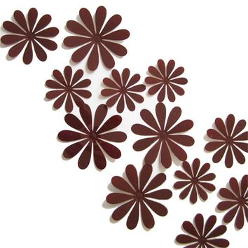 12Pcs PVC 3D DIY Flower Wall Stickers Wall Decor Stickers Poster for Kitchen Bathroom Adhesive to Wall Decals Decoration 6Z