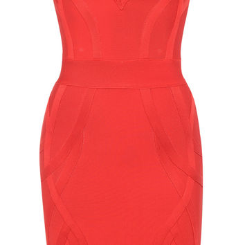 Clothing : Bandage Dresses : 'Cici' Red Deep V Plunge Bandage Dress