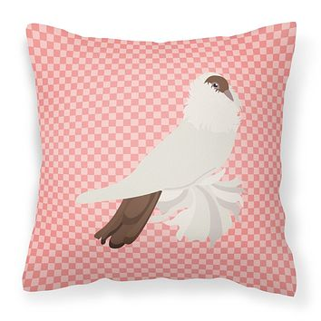 German Helmet Pigeon Pink Check Fabric Decorative Pillow BB7944PW1818