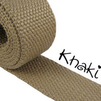 "1.25 "" Cotton Webbing by the yard, Khaki Webbing, Key Fob Webbing, Purse Straps, Belting"