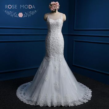 Rose Moda Lace Mermaid Wedding Dress Aly Low V Back Pearl Beaded Wedding Dresses Plus Size Real Photos