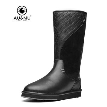 2017 AUMU Australia Shearling Wave Print Suede Pull On Thick Platfro Round Toe Rubber Soles Knee-high Snow Winter Boots UG N727