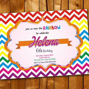 Rainbow Chevron Colorful, Birthday Invitation, Birthday Party for little boy and little girl