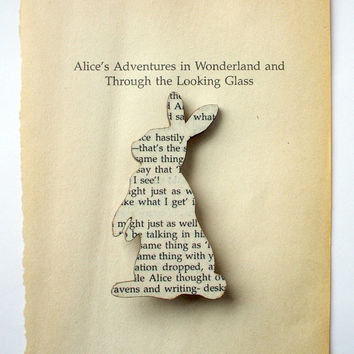 PRE ORDER - Alice in Wonderland - Rabbit brooch. Classic book brooches made with original pages.