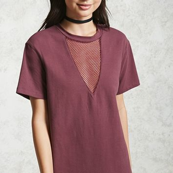 Mesh Insert T-Shirt Dress
