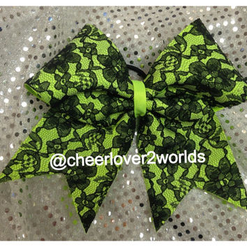 Cheer Bow - Neon Green With Black LaceCheerleading Dance Ribbon