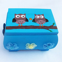 Trinket Box, handpainted, handmade, ooak, cute owls