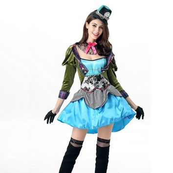 Vocole Alice in Wonderland Sexy Mad Hatter Costumes Women Halloween Party Outfit Fancy Dress
