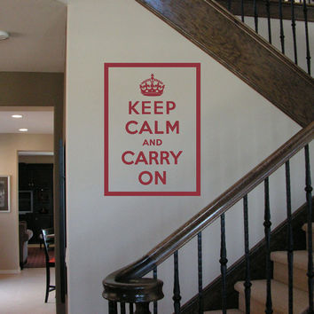 "Keep Calm and Carry On (large 32"" H x 23"" W) vinyl wall lettering decal vintage quote WW II slogan art poster (W00640)"