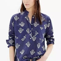 Fashionable Turn-down Collar Long Sleeve Retro Floral Printed Blouse