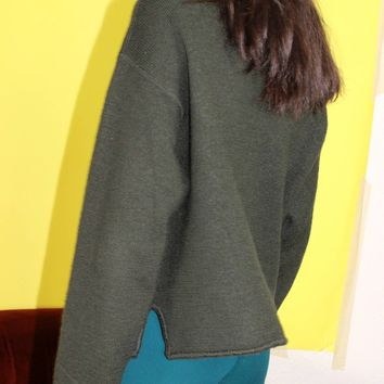 Wool Knit Collared Sweater / L