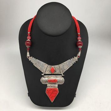 Afghan Turkmen Tribal Coral & Carnelian Inlay Beaded V-Neck Necklace VS04