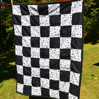 Elegant Black and White Floral Patchwork Baby Quilt or Lap Quilt