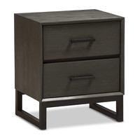 Baxton Studio Parris 2-Drawer Nightstand in Grey/Black