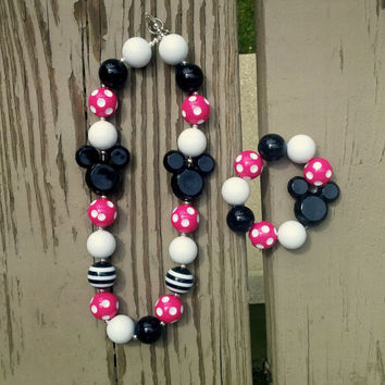 Girls Minnie Mouse Necklace Set- Chunky Bead Necklace - Birthday - Disney Vacation