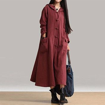 Women Dress Big Size Winter Loose Vintage Linen Dress Casual V Neck Long Maxi Dresses Hooded Long Sleeve Plus Size 4XL Large