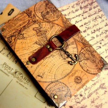 Terrene Journal - old map, travel, hand binding, made to order