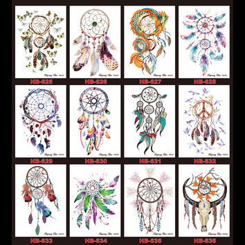 1 Sheet Tattoo Sticker for Women Men Body Arm Art HB388 Design Red Fox Clock Time Pattern Temporary Tattoos Sticker Unique Gifts
