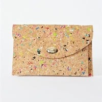 Cork Splatter Clutch- Confetti Clutch
