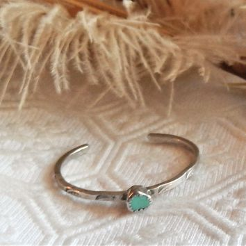 Vintage Native American Navajo Sterling Silver Turquoise Child Baby Cuff Bracelet