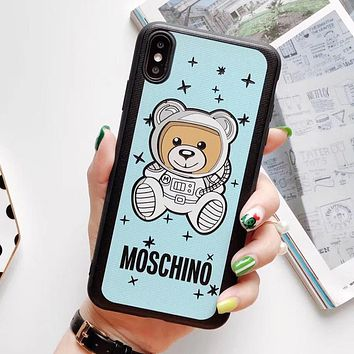 MOSCHINO Stylish Lovely Astronauts Bear Print iPhone Phone Cover Case For iphone 6 6s 6plus 6s-plus 7 7plus iPhone X XR XS XS MAX Blue