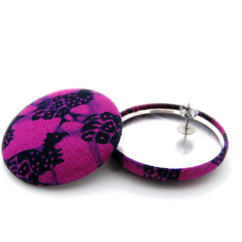 Fuschia and Black African Fabric // Bird Pattern // Button Earrings // Stainless Steel // Gifts under 25