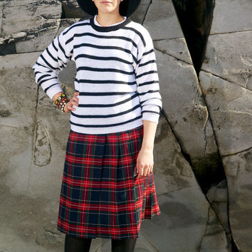 Vintage Wool Plaid Pleated Maxi Skirt