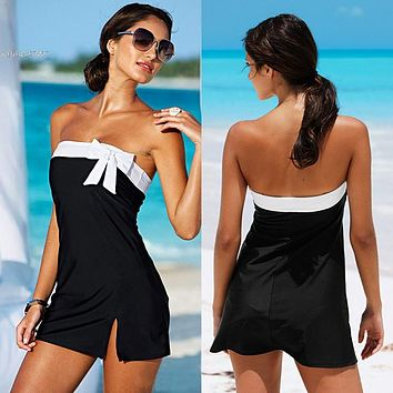 exy Black / White One Piece Swimsuit Swimwear Women V Cut Monokini Bathing Suit One Piece suit for women