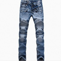 spbest Men's Fashion Brand Designer Ripped Biker Jeans Men Distressed Moto Denim Joggers Washed Pleated Jean Pants Black Blue