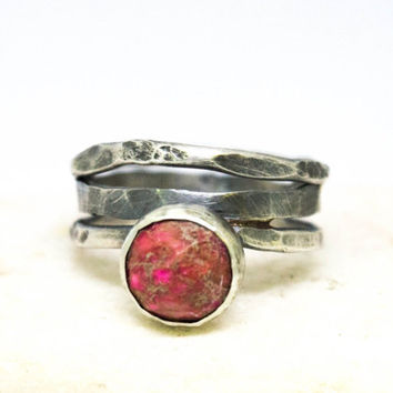 Rose-red Regalite JASPER ring, Sterling silver ring, Gemstone jewelry, Thumb ring, Womens silver ring, Metalwork jewelry, Atrisan,Handmade