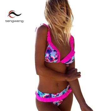 Tengweng 2018 New Bow tie Ruffle Women Bikini set Floral Print Two piece Swimsuit Large size Swimwear Female Bathing suit Cheap