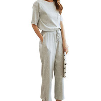 Grey Knitted Top Drawstring Pants Sets