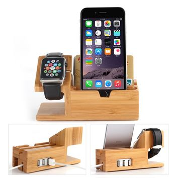 Apple Watch Stand with USB 2.0 Hub, Hapurs 2 in 1 iWatch Bamboo Wood Charging Dock Station Cradle Holder With 3 Ports USB 2.0 Hub for iWatch Series 2 38mm 42mm & iPhones & Other Smartphones