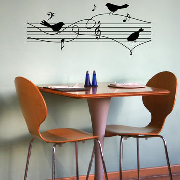 Birds On Music Notes Wall Decal