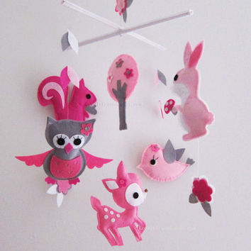 """Ready To Ship Baby Mobile - Baby Mobile - Nursery Mobile - Pink Baby Girl crib Mobile - """"Five Pink Critters in the Pink Jungle """" Mobile"""