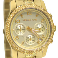 Michael Kors MK5826 Runway Chrono Champagne Dial Gold Band Women Watch NEW