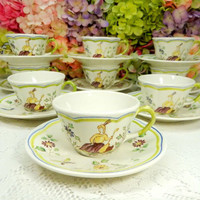 9 Vintage Longchamp French Faience Cups & Saucers ~ Moustiers