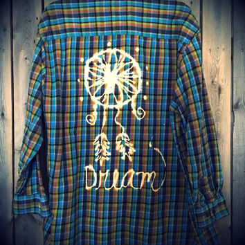 Plaid flannel Dream Catcher hand bleached shirt // soft grunge//size XL // boho // hippie